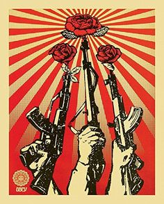 Shepard Fairey (Obey) is part of Obey art Guns and Roses, 2007 Screenprint 55 x 42 cm - Protest Kunst, Protest Art, Art Pop, Graffiti, Art Obey, Shepard Fairey Obey, Urbane Kunst, Propaganda Art, Communist Propaganda