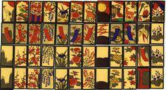 大連花(だいれんばな) Dairen-bana  中国に渡った日本人の間で使われた札。 短冊札に背景があり、模様が赤短、青短、その他で異なっている。  大連花
