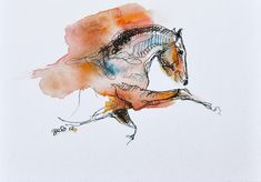 Equine nude 31 - Joyful Horse Watercolor Painting #EquineArt #Horse