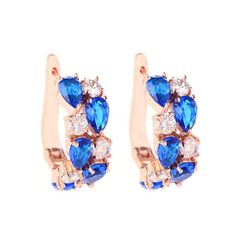 Arlecchino Piccolo - Colorful CZ Diamond Rose Gold Stud Earrings