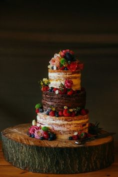 Winter Naked Wedding Cake Inspiration... with chocolate center layer