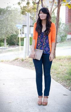 Perfect.  Pair my tangerine cardi with my simular shirt. Awwwww the inspiration.