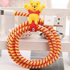 Amazon.com: Tospania DIY Cartoon Style Spiral Wire Protectors for Apple Lightning Cables/Samsung and other Tablet Charging Cables/ Earphone Cords and More (Winnie): Cell Phones & Accessories