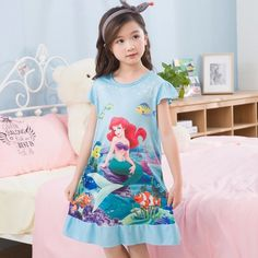 499ca0364094f ... children nightgown Suppliers  Kids Party Princess Nightgown New WAVMIT  2018 Children Clothing Print Summer Dresses Girls Baby Cotton Girl  Sleepwear Home