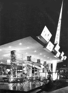 Wich Stand, 1957. The Wich Stand housed a cocktail lounge and featured carhop service. The Wich Stand was located on Slauson Avenue at Overhill near Inglewood, California. Googie architecture