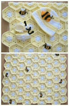 Baby Knitting Patterns, Crochet Blanket Patterns, Baby Blanket Crochet, Crochet Stitches, Love Crochet, Crochet For Kids, Knit Crochet, Baby Set, Baby Baby