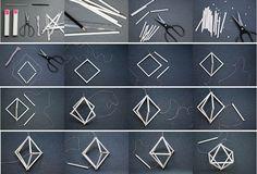 DIY with straws:Working Space Ideas Geometric Origami, Geometric Decor, Geometric Designs, Diy Arts And Crafts, Creative Crafts, Diy Crafts, Straw Crafts, Cardboard Crafts, Diy Clay