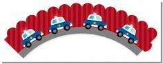 Police Car – Birthday Party Cupcake Wrappers - All About Gardens Car Birthday, Cars Birthday Parties, Cupcake Liners, Cupcake Wrappers, Cupcake Party, Birthday Cupcakes, Police Cupcakes, Baking Party, Cake Boss