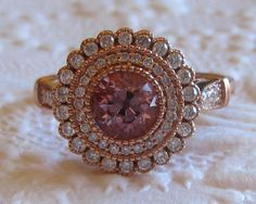 Peachy Pink OEC Spinel in Rose Gold Gerbera Diamond Engagement Ring with Milgrain Bezel, by JuliaBJewelry on Etsy