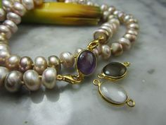 TOM K Halskette Perle Gold Amethyst Rauchquarz Collie Charm Achat Anhänger Biwa | eBay