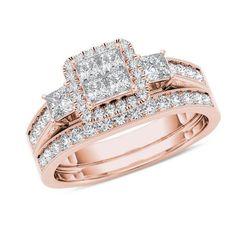 #ZALES - #Zales 1 CT. T.W. Quad Princess-Cut Diamond Three Stone Frame Vintage-Style Bridal Set in 14K Rose Gold at Zales - AdoreWe.com