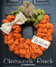 Pumpkin Burlap Wreath - Welcome Door Wreath -  Rustic Country Shabby Chic Thanksgiving Fall Autumn Harvest Halloween by ChatsworthRanchCo on Etsy https://www.etsy.com/listing/241926046/pumpkin-burlap-wreath-welcome-door