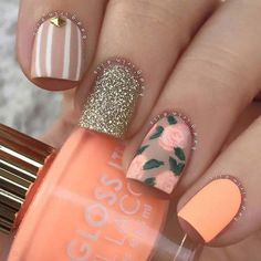 43 Best Spring Nail Art Designs to Copy in 2019 Pretty Spring or Summer Nail Design Spring Nail Art, Nail Designs Spring, Cool Nail Designs, Spring Nails, Spring Design, Hair And Nails, My Nails, Dark Nails, Bright Summer Nails