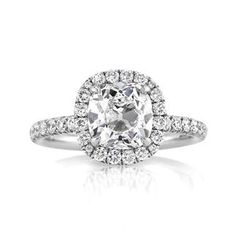 3.12ct Antique Cushion Brilliant Diamond Engagement Ring available at Markbroumand.com!