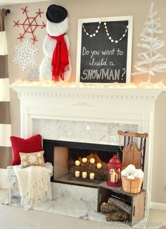 Do you want to build a snowman winter mantel