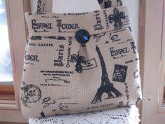 Burlap Pleated Handbag Purse Ipad Netbook by Antiquebasketlady, $41.00