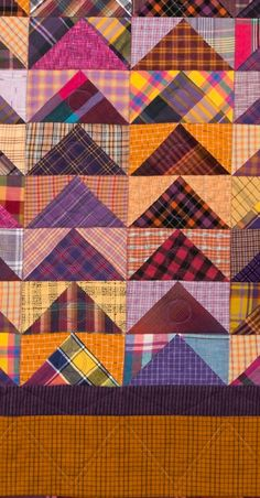 "Sew Quilt WALL HANGING Above lounge chair FLYING GEESE QUILT - I just finished five quilts in time to get them photographed, quite a flurry of activity. It was fun finally to finish this Flying Geese quilt, and I say ""finally"" even though I have no… Flannel Quilts, Plaid Quilt, Boy Quilts, Shirt Quilts, Tartan Fabric, Scrap Fabric, Colchas Quilt, Quilt Blocks, Quilt Kits"