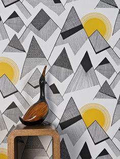 Designer Wallpaper Online Store for USA & Canada Modern Wallpaper, Of Wallpaper, Designer Wallpaper, Wallpaper Ideas, Black And Grey Wallpaper, Wallpaper Panels, Pattern Wallpaper, Sunrise Wallpaper, Mountain Wallpaper