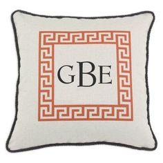 D'Kei 3 Letter Monogram Graphics Greek Key Pillow Orange - P17-M312-GK-97