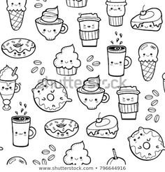Descubra Various kawaii food. Hand drawn vector seamless pattern vectores de stock y millones de otr Cute Food Drawings, Art Drawings For Kids, Cute Kawaii Drawings, Diy Kawaii, Kawaii Art, Doodles Kawaii, Bujo Doodles, Food Doodles, Doodle Art For Beginners