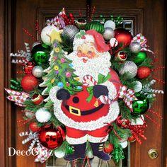 JOLLY ST NICHOLAS Christmas Wreath with Lights by decoglitz