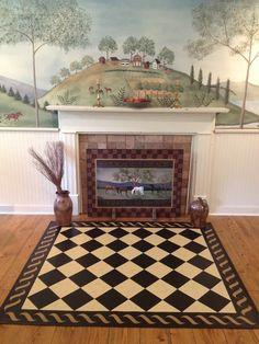 Image result for folk art fireplace wooden painted fireboard screen