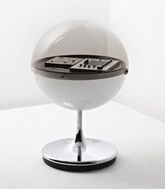 THILO OERKE 'Vision 2000' stereophonic Hi-Fi system, early 1970s Acrylic, chrome-plated acrylic, brushed steel. 94 cm. (37 in.) high, 64.5 cm. (25 3/8 in.) diameter Manufactured by Rosita Tonmöbel, Germany. Comprising: radio, cassette player, the swivel base on castors