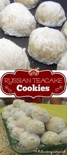 Russian Teacakes Cookies Recipe (Mexican Wedding Cakes, Swedish Tea Cakes, Snowballs or Butterball Cookies)  |  whatscookingamerica.net  | #russian #teacakes #weddingcakes #swedish #mexican #snowball #sandtart #butterball #snowdrop #sugarball #italian #vi