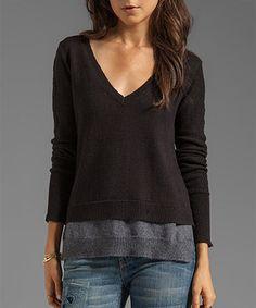 Look at this #zulilyfind! Black & Steel Layered Excitement V-Neck Sweater by Vintageous #zulilyfinds