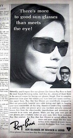 1964 Vintage Bausch & Lomb Ray-Ban Sunglasses Sun Glasses Brunette Ad