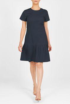 I <3 this Drop waist cotton poplin shift dress from eShakti