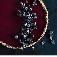 Dark berry tart by @