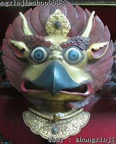 "21""Tibet Sacred 100% Bronze Gold Garuda God Buddha mask Evil spirits statue"