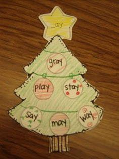 Word Family Christmas tree art! :-)