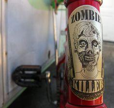 Zombie Killer - bicycle accessories, zombie accessories, bicycle head stem badge, bike badge, bicycle head badge, zombie apocalypse, brass