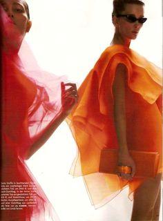 Jil Sander Pink and Orange Tulle Organza