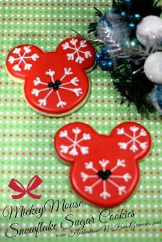 Mickey Mouse Snowflake Sugar Cookies - Horseshoes & Hand Grenades #cookie #recipe #disney