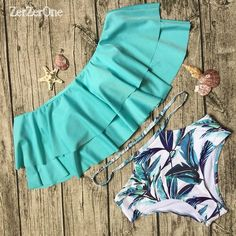 Tengweng 2017 New Candy Ruffle Falbala Bikini High waist Flounced Print Bottom Swimwear Push up Women Plus size Bathing suit XXL Bathing Suits For Teens, Cute Bathing Suits, Cute Outfits For Kids, Outfits For Teens, Looks Adidas, Vintage Bikini, Ruffle Swimsuit, Cute Swimsuits, Girls Fashion Clothes