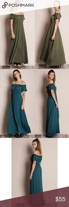 "Off Shoulder Maxi Dress Off shoulder maxi dress. Available in teal and olive. This listing is for the OLIVE. This is an actual picture of the item - all photography done personally by me. Model is 5'8"" 32C size 25 jeans. Brand new. True to size lots of stretch. NO TRADES. PRICE FIRM. Bare Anthology Dresses Maxi"