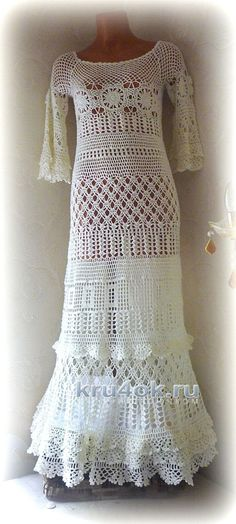 Платье Сати. Работа Олеси Петровой вязание и схемы вязания Crochet Wedding Dresses, Crochet Dresses, Finger Crochet, Beautiful Crochet, Long Sweaters, Crochet Clothes, Knit Dress, Evening Gowns, Knit Crochet