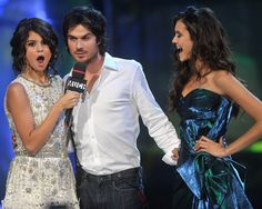 Happy Birthday, Nina Dobrev — See Her 24 Most Sassy and Sexy Shots!: Ian Somerhalder found himself in a sticky situation at the 2011 MuchMusic Video Awards in Toronto, where he was positioned between pretty ladies Selena Gomez and his real-life love, Nina Dobrev.