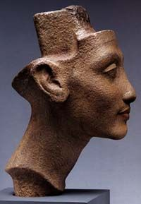 The Art of Pharaoh Akhenaten's Reign. Unfinished head of a woman, probably Queen Nefertiti, and even more beautiful, I think, than the famous, more finished one in color that everyone knows.