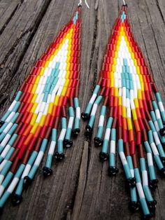 Native American Beaded Earrings, Chevron Earrings | FawnSpots | $50