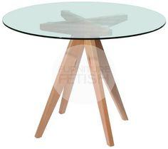 Replica Mesa Redonda Glass Round Table - 100cm Natural