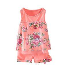 d90024b7485 2PCS Toddler Baby Girl Floral Bowknot VestShorts Kids Summer Clothes Outfit  Set Pink45T -- BEST