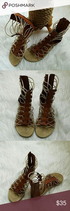MIA LIVI GLADIATOR FLAT SANDAL Get sassy with a strappy tall gladiator sandal loads of details that will spice up your casual look. Faux leather upper Elastic cord straps for stretch fit Back zipper for easy on/off Synthetic sole EXCELLENT used condition. Wore 2x only. MIA Shoes Sandals