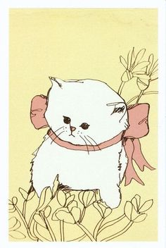 #white #kitten #cute #illustrations