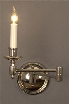 Swing Arm Bulls Eye 2 Nickel / Double Dimensions H x W x D Options Available * French Bronze or Nickel finish * Single Arm Swing Arm Wall Light, Nickel Finish, Candle Sconces, Wall Lights, Bronze, Candles, French, Eye, Lighting