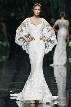One of the Favorite 2012 Wedding Dresses, a fitted trumpet shape and lace cape from Manuel Mota.