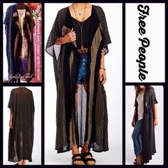 "FREE PEOPLE Black Kimono Long Cape Cardigan RETAIL PRICE: $168 NEW WITH TAGS  FREE PEOPLE Black Kimono Cardigan Long Maxi Cape  * Relaxed & Oversized Silhouette; Tagged One size'. About 57"" long.  * Allover rib & fringe trim details  * Boho'festival feel'; A must for all FP collections!  * Cascading open front  * Wide 3/4 long sleeves  Fabric: 92% Cotton & 8% Nylon Color: Black Combo Item:129900  No Trades ✅ Offers Considered*✅ *Please use the blue 'offer' button to submit an offer. Free…"